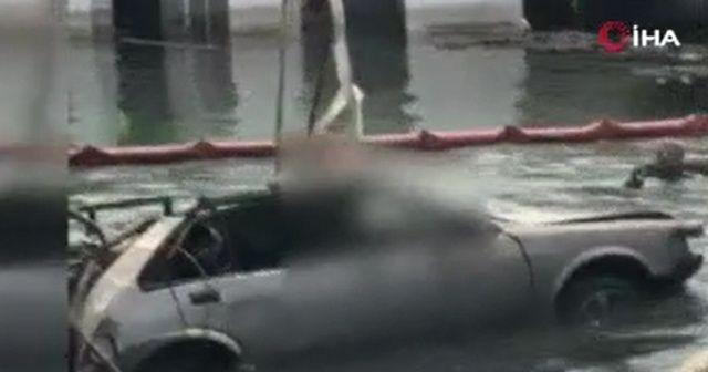 Beyrut'ta patlamanın şiddetiyle otomobil denize düştü