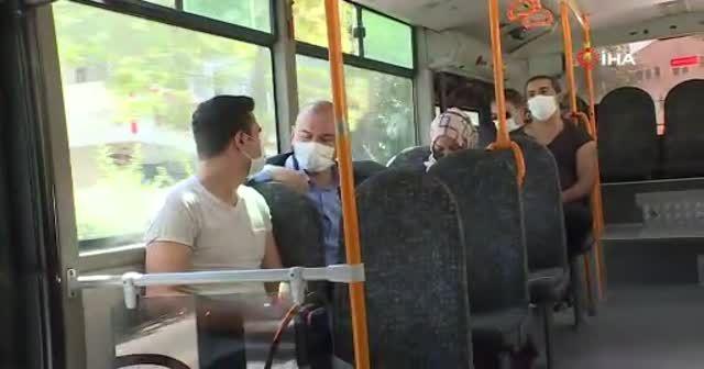 Bakan Soylu korona virüs denetimine katıldı, otobüse bindi