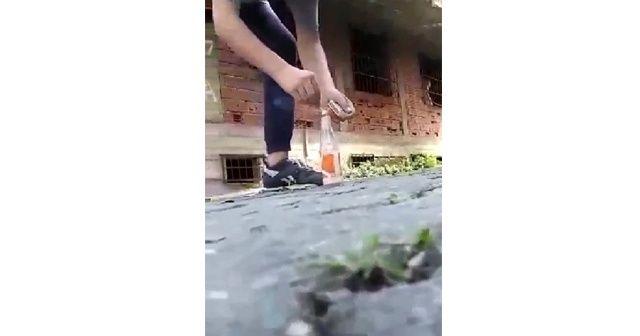 Çocukların tehlikeli oyunu kameraya yansıdı