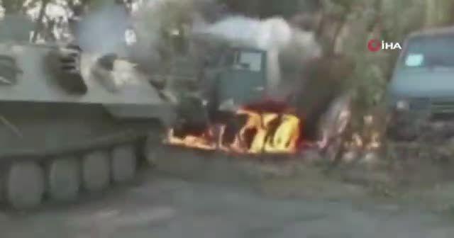 Rusya'da askeri tatbikat sırasında zırhlı kamyon alev aldı