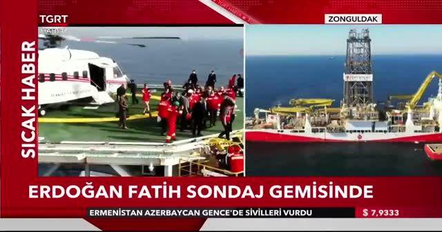 Cumhurbaşkanı Erdoğan yeni doğalgaz rezervini açıklamak üzere Fatih gemisinde