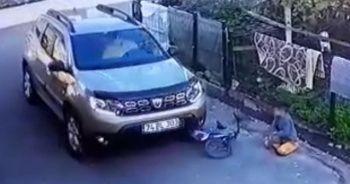 Yol kenarındaki çocuğun bisikletini ezdi!