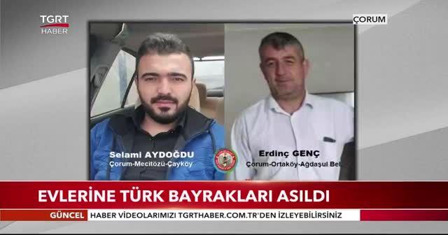 Evlerine Türk bayrakları asıldı