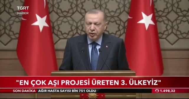 Cumhurbaşkanı Erdoğan: 3 aşı adayımız faz çalışmalarına başlıyor