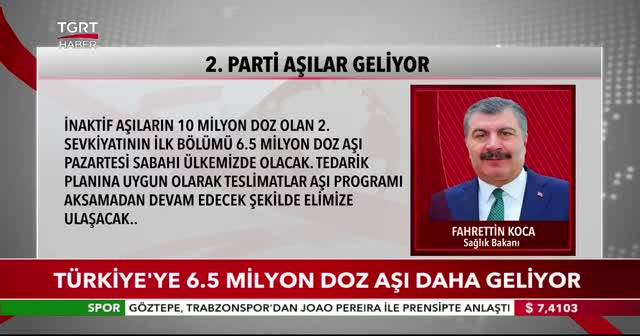 Türkiye'ye 6.5 milyon doz aşı daha geliyor