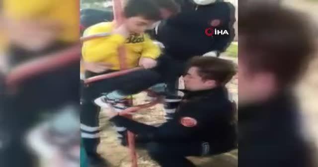 Bursa'da çocuk parkında inanılmaz kaza
