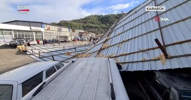 Fırtınada dev çatı böyle uçtu
