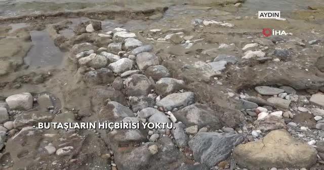 Sular çekilince tarihi yapılar ortaya çıktı