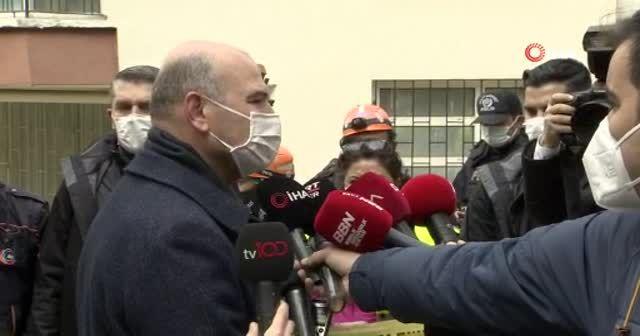 Bakan Soylu istinat duvarı çöken binayla alakalı incelemelerde bulundu