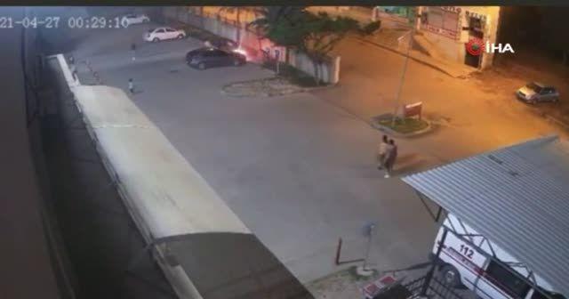 Hastane otoparkında araç yangını