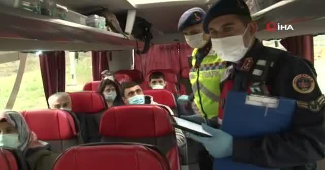 İstanbul'da yolcu otobüslerine korona virüs denetimi