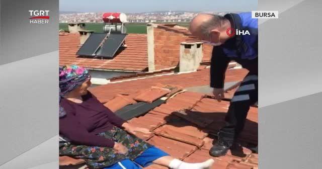 Çatıdaki Safiye teyzeyi polis zor indirdi