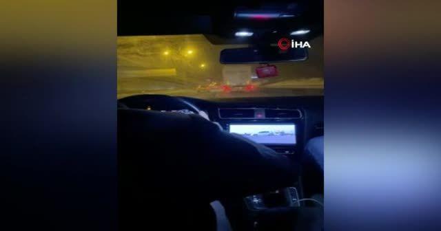 "TEM Otoyolu'nda lüks otomobilli ""makas"" terörü kamerada"