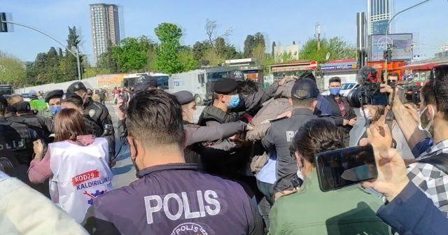 Mecidiyeköy'den Taksim'e yürümek isteyen gruba polis müdahalesi