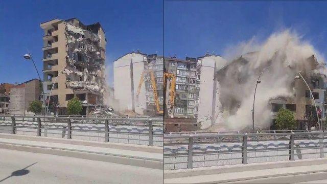 Elazığ'da 8 katlı bina korna sesi ile yıkıldı