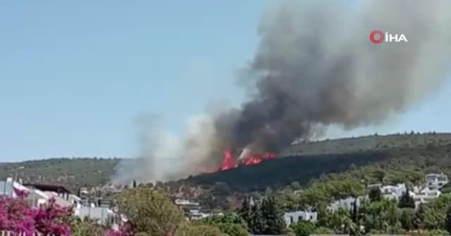 Bodrum'da yangın: Patlama sesi duyuldu