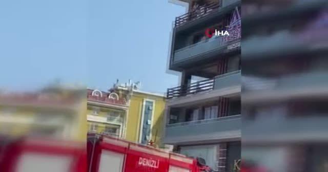 Korku dolu anlar: Yangında mahsur kaldı, komşusunun balkonuna atladı