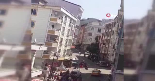 Esenyurt'ta iki ailenin çöp dökme kavgası kamerada