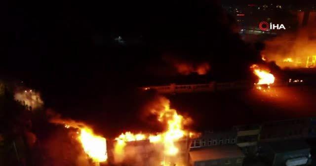 İkitelli Çevre Oto Sanayi Sitesi'nde yangın çıktı