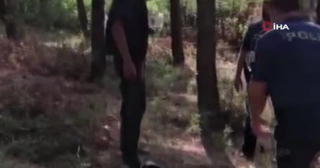 Orman yangını şüphelisi, başka bir ormanda yine tiner şişesiyle yakalandı