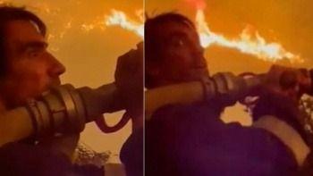 Ünlü oyuncu yangında alevlerle savaştı