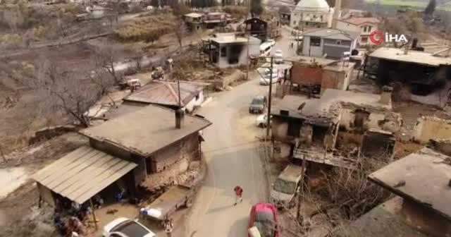 Yangında yok olan mahalle havadan görüntülendi