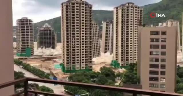 Çin'de 15 gökdelen dinamitlerle yerle bir edildi