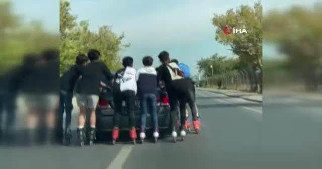 Gençlerin tehlikeli yolculuğu kamerada
