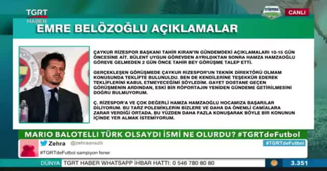 Emre Belözoğlu TGRT Haber'e konuştu
