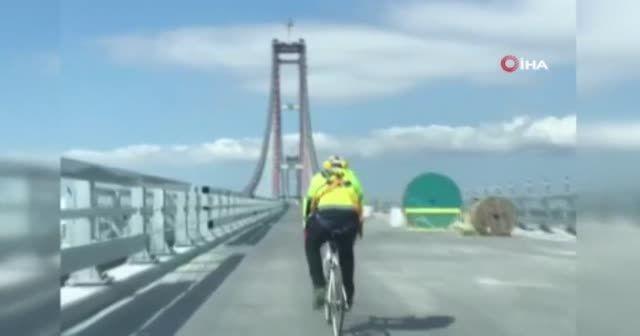 Çanakkale Köprüsü'nü bisikletle geçti