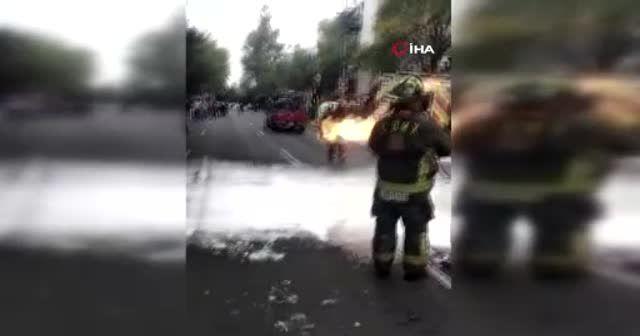 Alev alev yanan tüpü sırtına alıp çıkardı facianın eşiğinden dönüldü